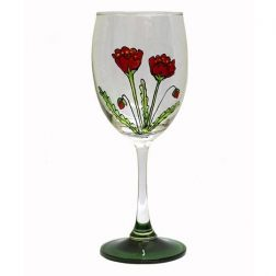 Handpainted Wine Glass – Large Poppy Print