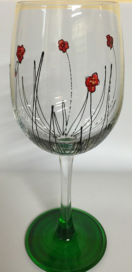 Handpainted Wine Glass – Small Poppy Print