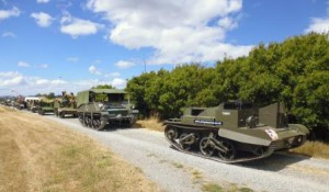 Vehicles line up ready for the Universal Carrier World Record attempt