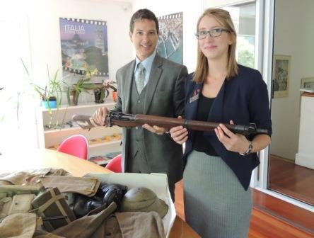 Italian Ambassador Carmelo Barbarello with Museum Registrar Anna Beazley and the WWII artefacts