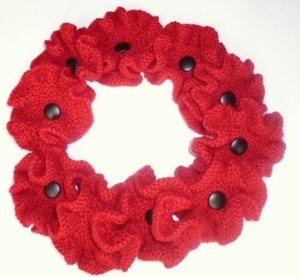 Ring of 10 hand crafted poppies made by Shelley  Kirton in remembrance